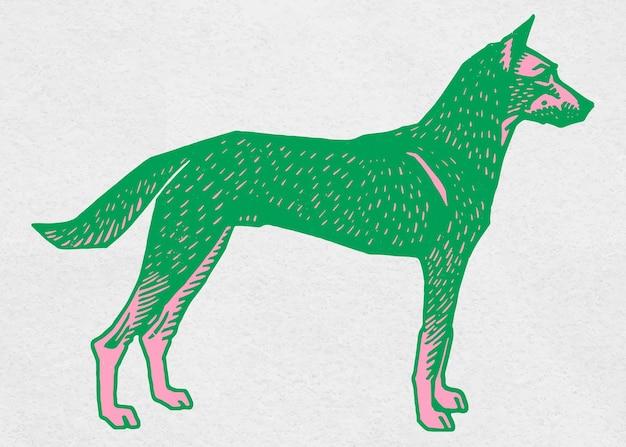 Perro verde, vendimia, pintura clipart
