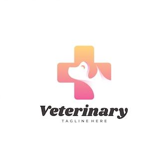 Perro veterinario moderno mascota y logotipo de la cruz