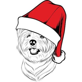 Perro west highland white terrier con gorro de papá noel para navidad