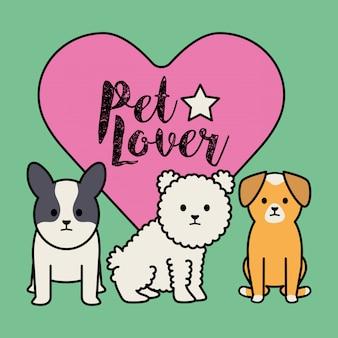 Perros adorables mascotas con corazón.