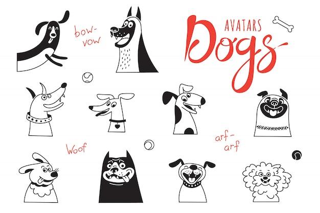 Los perros avatar. perro faldero divertido, pug feliz, mestizos alegres y otras razas.