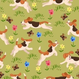 Los perros beagle se ejecutan en la pradera de flores de patrones sin fisuras. gráficos vectoriales.