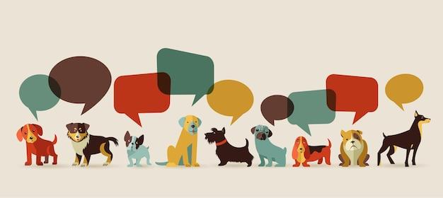 Perros con bocadillos - vector conjunto de iconos e ilustraciones.