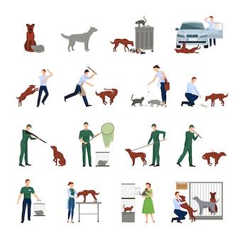 Los perros callejeros y los personajes establecen el comportamiento de los animales en la sociedad que reciben tratamiento en una clínica veterinaria y los encuentran en la ilustración del vector de protección de refugio