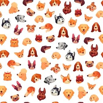 Perros sin costuras caras. cara de perro divertida, cabeza de mascota cachorro y patrón de grupo de animales