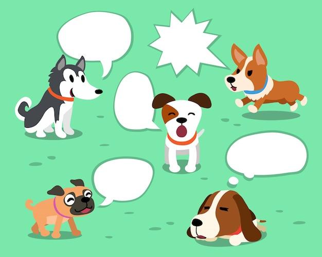 Perros de dibujos animados con burbujas de discurso blanco