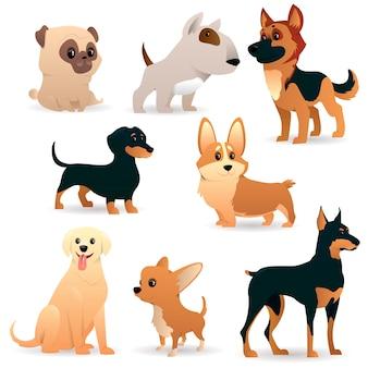 Perros de dibujos animados de diferentes razas.