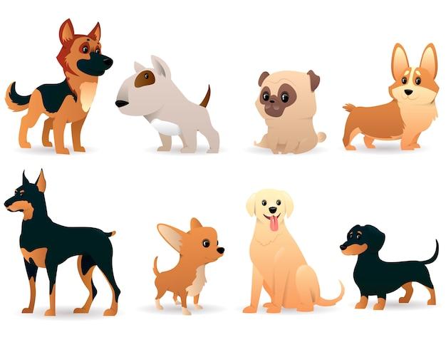 Perros de dibujos animados de diferentes razas
