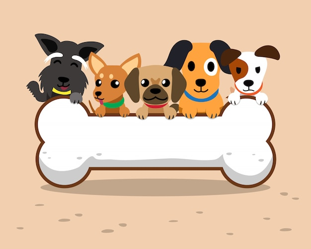 Perros de dibujos animados y hueso grande.