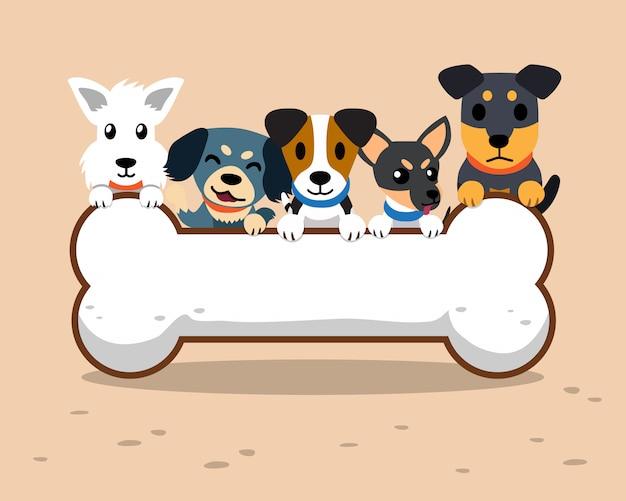 Perros de dibujos animados y signo de hueso grande