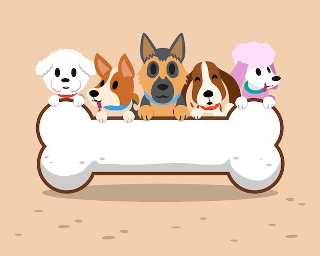 Perros de dibujos animados con signo de hueso