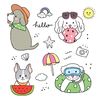 Perros divertidos dibujos animados lindo verano