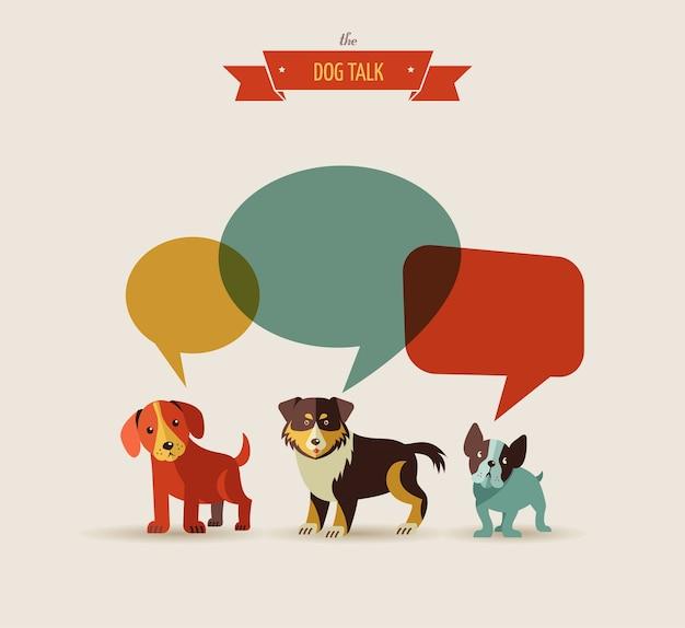 Perros con ilustración de burbujas de discurso