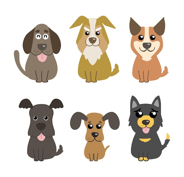 Perros lindo vector set mascotas