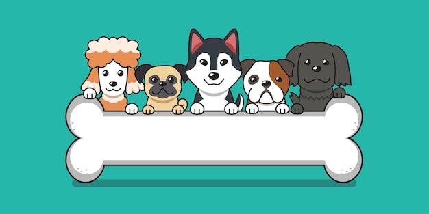 Perros lindos de dibujos animados con hueso grande