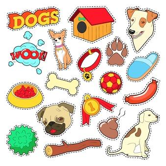 Perros mascotas doodle para álbum de recortes, pegatinas, parches, insignias con cachorro.