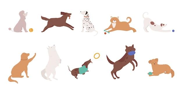 Perros mascotas juegan conjunto de ilustración.