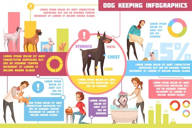 Perros mascotas que se alimentan de consejos prácticos de formación sobre crianza con veterinario retro dibujos animados infografía cartel abstracto vector ilustración