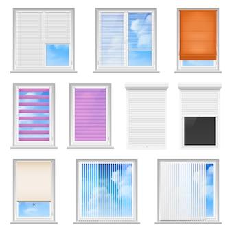 Persianas de ventana de color conjunto plano