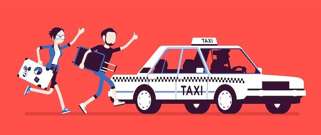 Persiguiendo un taxi. joven negro y mujer con equipaje a toda prisa corriendo para conseguir un coche, vehículo público de pasajeros de la ciudad. ilustración con personajes sin rostro