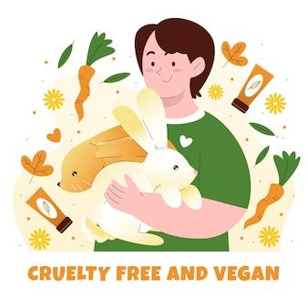 Persona abrazando libre de crueldad animal
