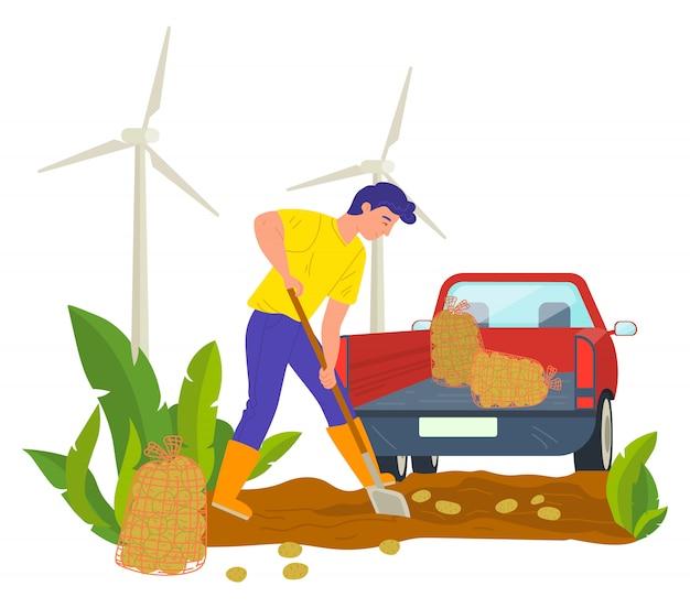 Persona agrícola en plantación, tractor con bolsa