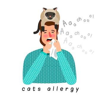 Persona alérgica con gato en la cabeza.