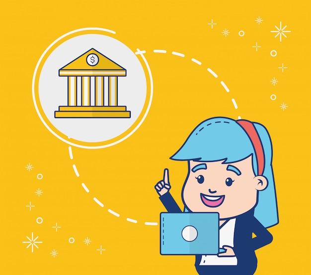 Persona de banca en línea