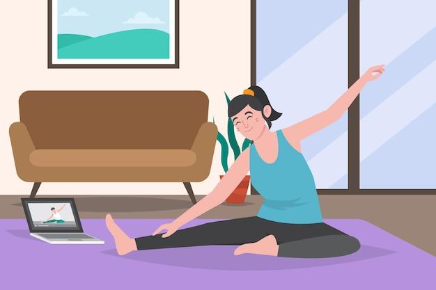 Persona de clases de deporte en línea haciendo ejercicios de estiramiento