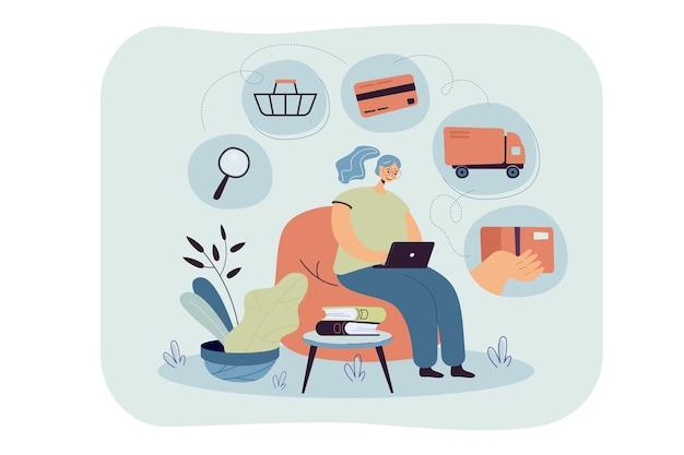 Persona con computadora portátil que usa la aplicación en línea para pedir comida en una tienda de comestibles o un restaurante. ilustración de dibujos animados