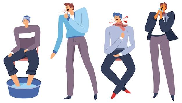 Persona contraída con gripe o enfermedad al toser y estornudar
