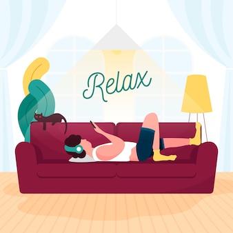 Una persona descansando en el sofá de casa