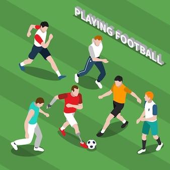 Persona con discapacidad jugando fútbol isométrico ilustración