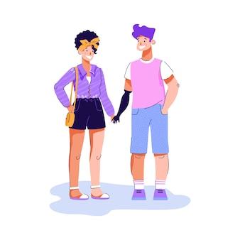 Persona discapacitada con prótesis de brazo sosteniendo la mano de novias - feliz pareja de dibujos animados sonriendo el uno al otro aislado sobre fondo blanco. ilustración plana.