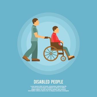 Persona discapacitada en silla de ruedas con plantilla de texto.