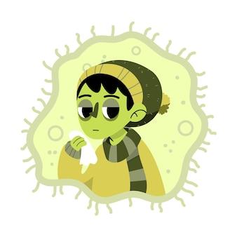 Persona con diseño ilustrado en frío