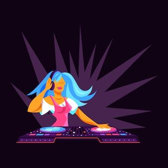 Persona de dj de pie en la consola de audio. música de club, músico artístico. ilustración