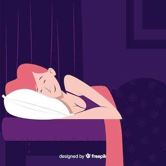 Persona durmiendo en la cama