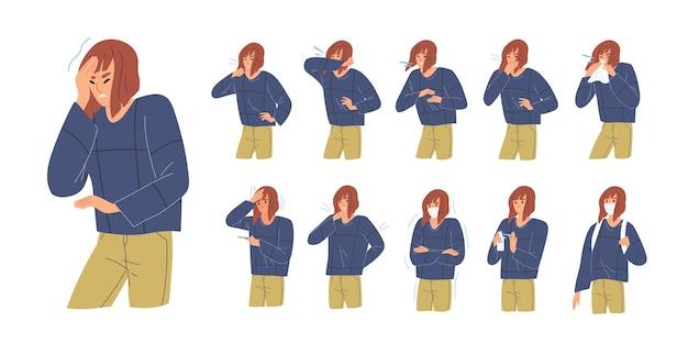 Persona durante enfermedad respiratoria. chica tosiendo en el brazo, el codo, el tejido. síntomas de virus. dolor de cabeza, fiebre, temperatura alta, rigidez corporal. mujer con y sin mascarilla. ilustración de vector de colorufl.