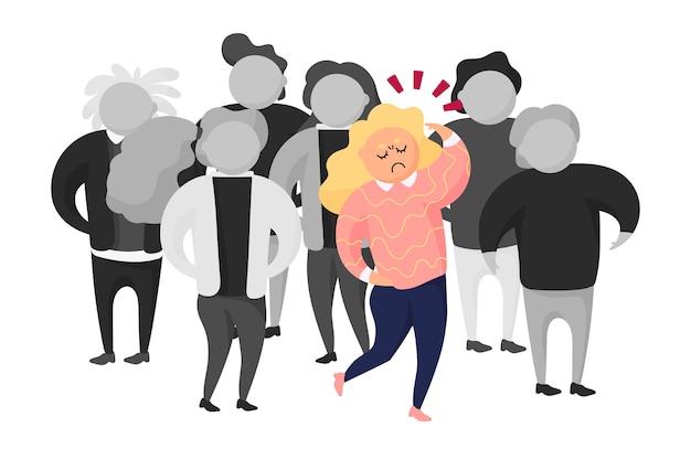 Persona enojada en ilustración de multitud