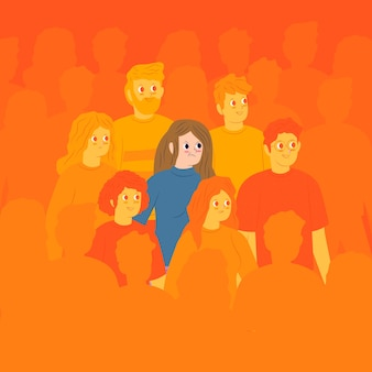 Persona enojada en multitud