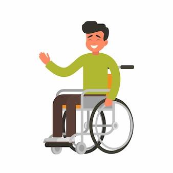 La persona feliz joven se sienta en una silla de ruedas