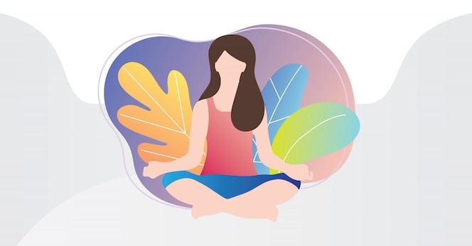 Persona femenina sentada en posición de lotos de yoga