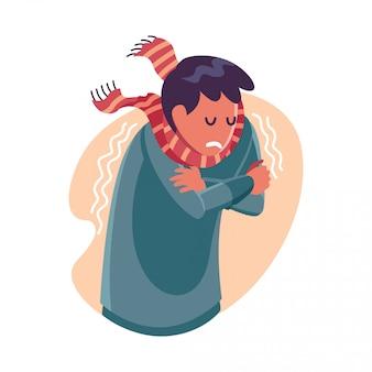 Persona con fiebre alta - ilustración de personaje plano