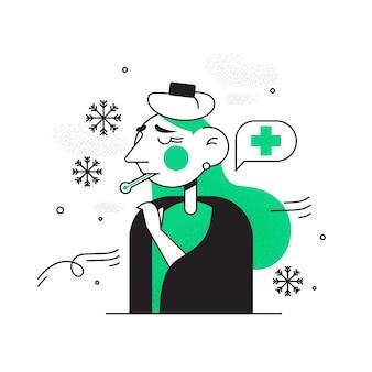 Persona con un garabato frío