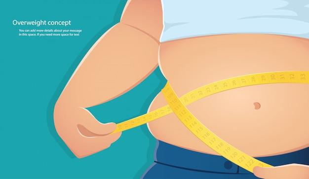 La persona gorda usa una balanza para medir su cintura.