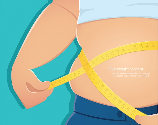 Persona gorda usa escala para medir su cintura vector.
