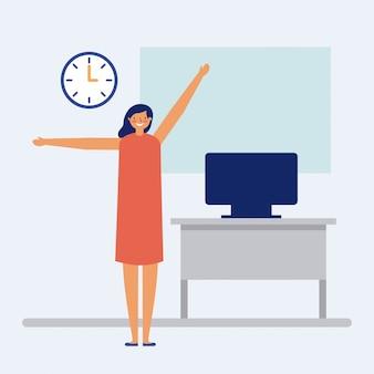 Persona haciendo un descanso activo en la oficina, estilo plano