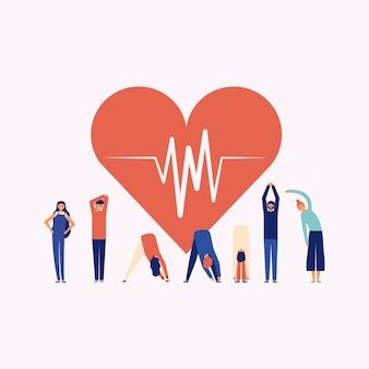 Persona haciendo ejercicio alrededor de un corazón, concepto de fitness en línea