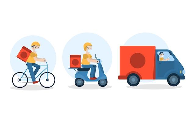 Persona haciendo paquete de actividades de entrega